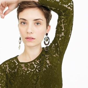 J. Crew olive green lace top with built in cami